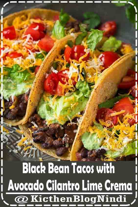 Black Bean Tacos with Avocado Cilantro Lime Crema