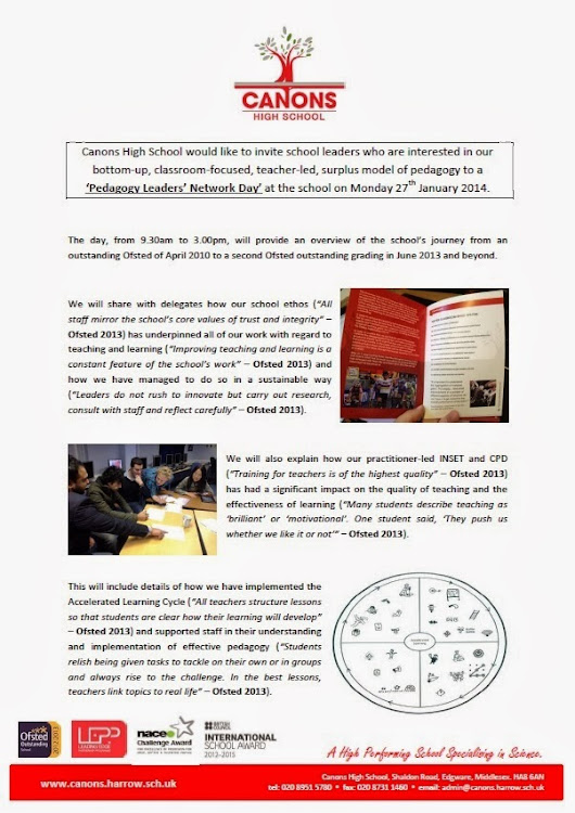 Pedagogy Leaders' Network Day - Monday 27th January 2014