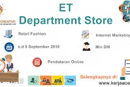 Lowongan Kerja Aceh Terbaru 2018 D3  gaji kisaran  3 Juta di ET Store Banda Aceh