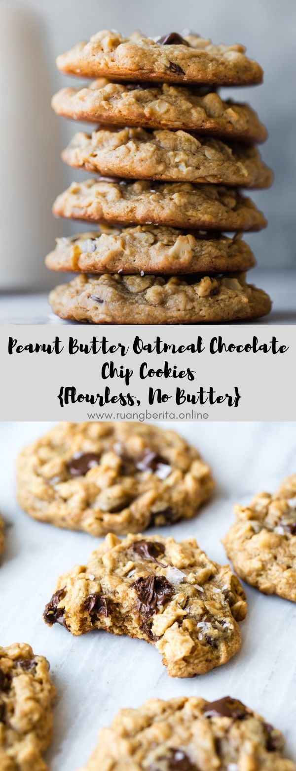 Peanut Butter Oatmeal Chocolate Chip Cookies {Flourless, No Butter}  #dessert #snack #peanutbutter #oatmeal #chocolate #flourless #no butter
