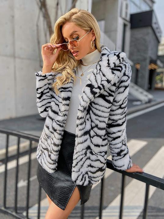 Leopard Tiger Zebra Faux Fur Coats Jackets