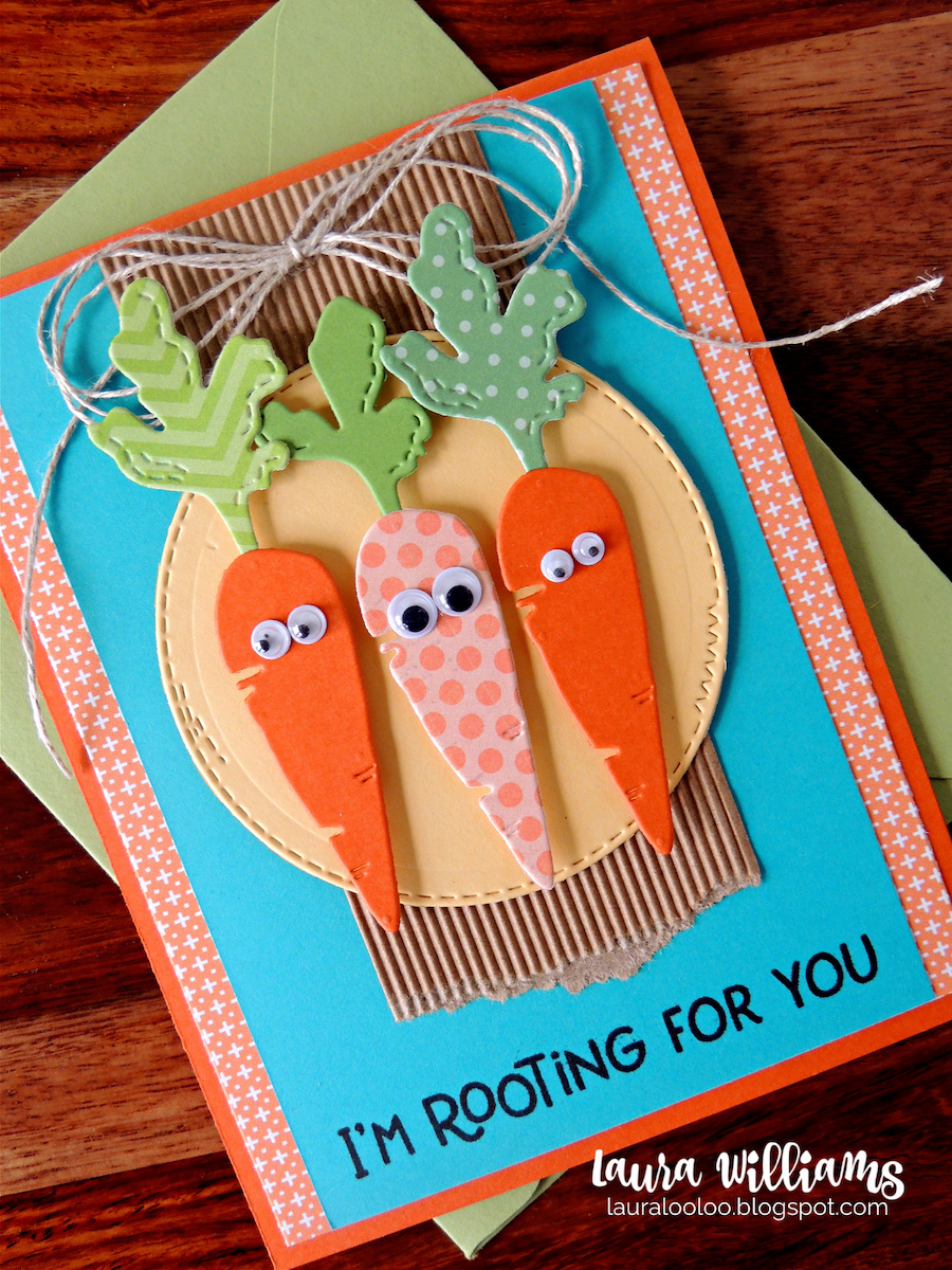 I'm Rooting for You - make an adorable handmade card with carrot dies from Impression Obsession. Mix and match to make carrots from cardstock or patterned paper to add onto paper crafted projects of all kinds. Pair them with cute sentiment stamps that have fun veggie puns. See the whole collection and more ideas on my blog!