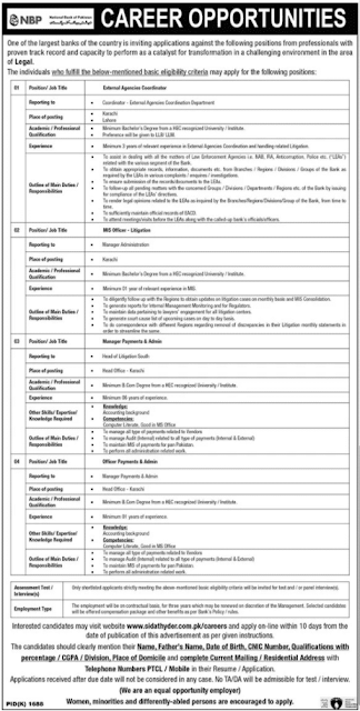 www.nbp.com.pk Jobs 2021 - NBP Jobs 2021 Online Apply - www.sidathyder.com.pk/careers - National Bank Jobs 2021