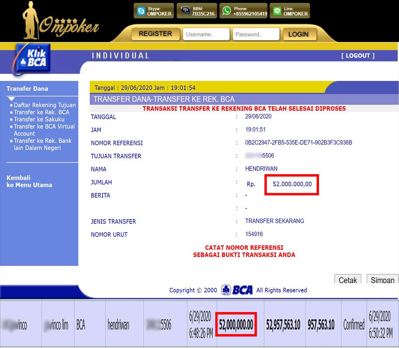 Selamat Kepada Member Setia Ompoker WD Rp 52.000.000,-