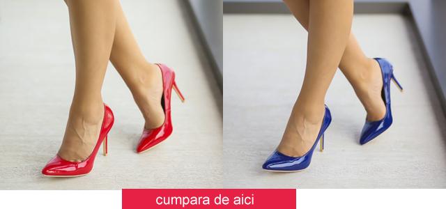Pantofi cu toc ieftini lacuiti de zi, office albastri, rosii