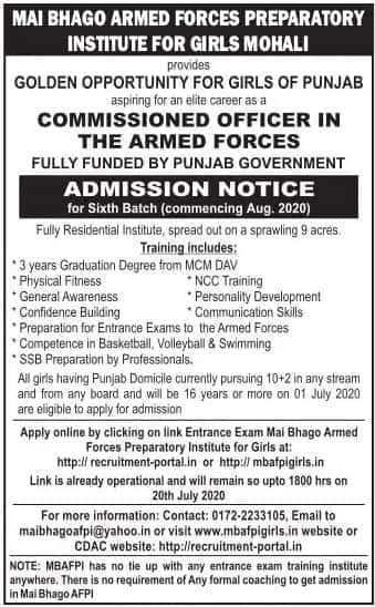 Punjab girls Armed Forces Officer Coaching