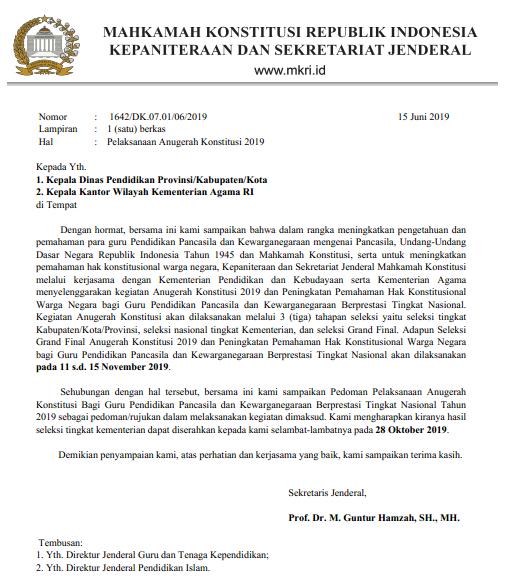 Juknis Lomba Anugerah Konstitusi bagi guru PPKN  JUKNIS LOMBA ANUGERAH KONSTITUSI BAGI GURU PPKN (PKN) SD DAN SMP TAHUN 2019