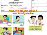 Soal UAS/PAS Kelas 1 Tema 8 Sub Tema 1, 2, 3, 4 dan Kunci Jawaban