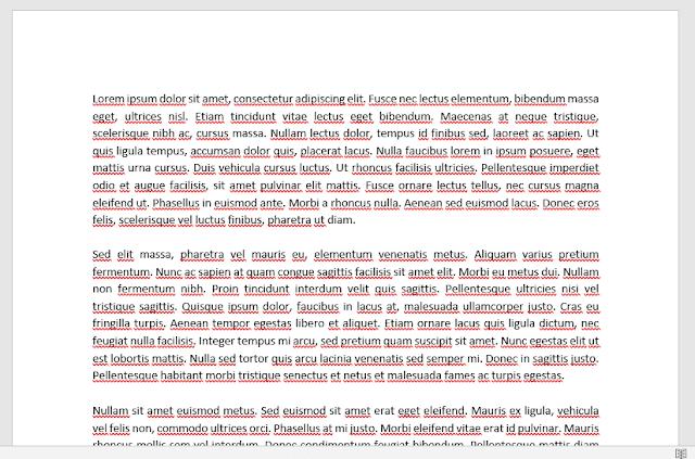 Menghilangkan Garis Merah pada Tulisan Word