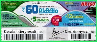 Kerala Lottery Result 14-02-2020 Nirmal NR-160 (Keralalotteryresult.net)