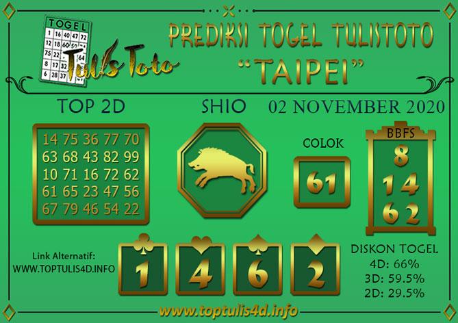 Prediksi Togel TAIPEI TULISTOTO 02 NOVEMBER 2020