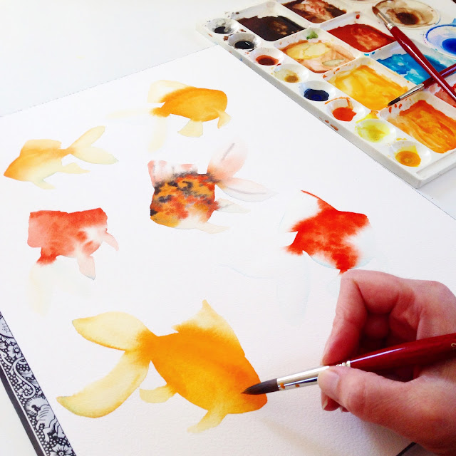 watercolor, watercolor goldfish, goldfish, Anne Butera, My Giant Strawberry