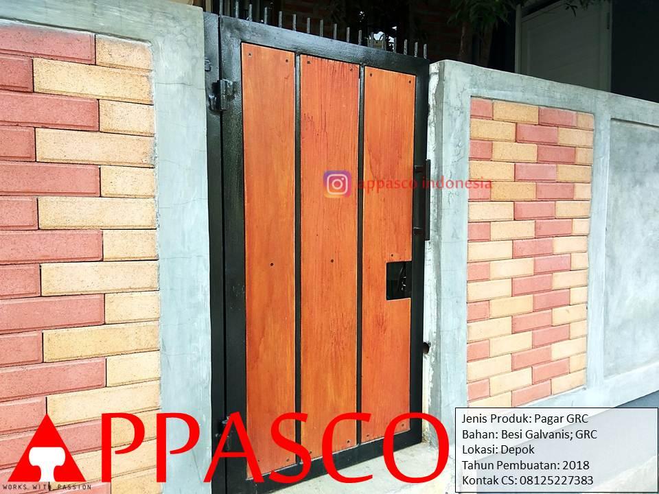 Pintu Gerbang Pagar Minimalis dari GRC lisplang dan Besi Galvanis di Depok