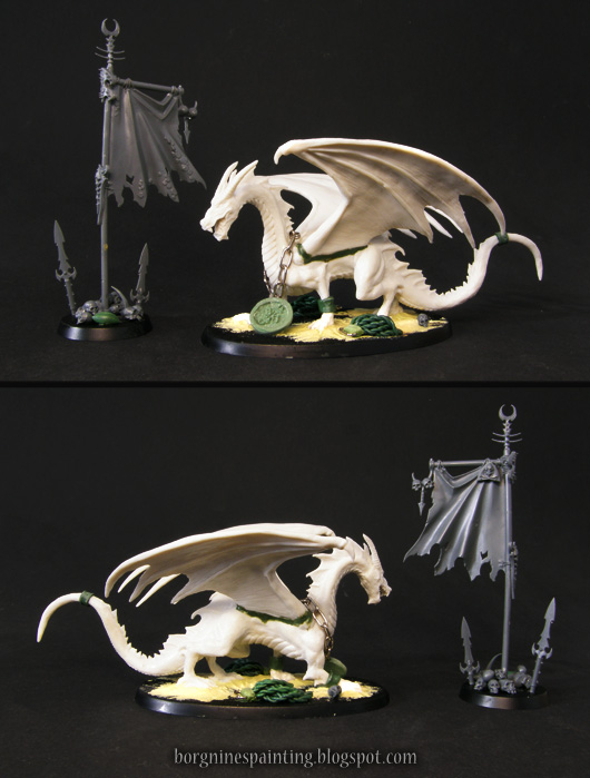 Unpainted versions of the miniatures shown above, showing the conversions done to both miniatures.