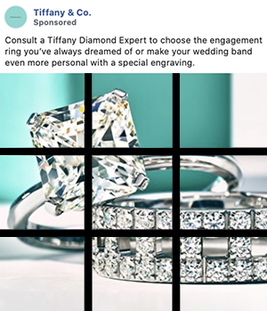 Tiffany Facebook paid ad with a photo that has been cropped using the rule of thirds