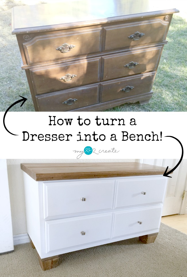 How to Turn a Dresser into a Bench, full picture tutorial at MyLove2Create!