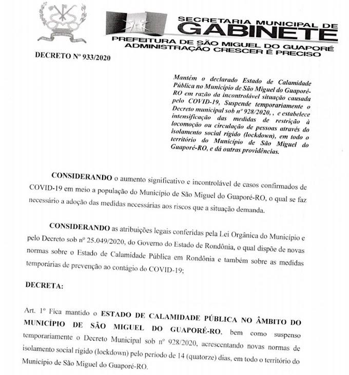 São Miguel do Guaporé é a 1ª cidade de Rondônia a impor lockdown
