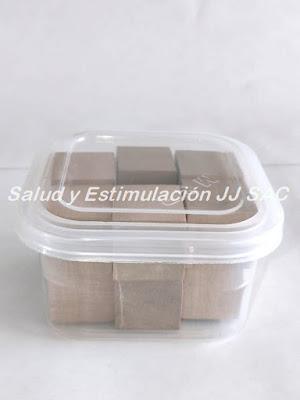 12 cubos madera taper plastico transparente