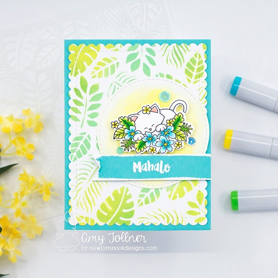 Mahalo by Amy features Aloha Newton, Tropical Leaves, Circle Frames, and Frames & Flags by Newton's Nook Designs; #inkypaws, #newtonsnook, #catcards, #cardmaking, #tropicalcards