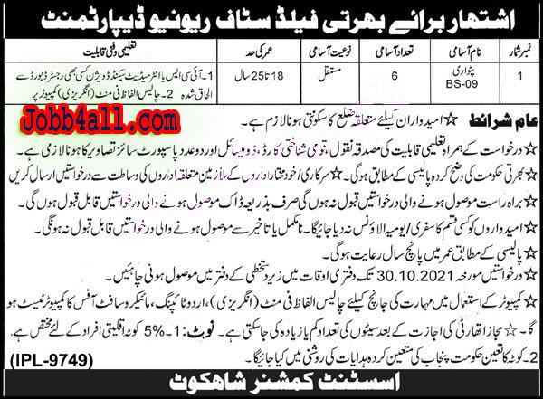 Revenue Department of Board Nankana Sahib New Jobs 2021 – Deadline 30-10-2021