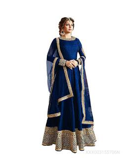 Aika Anarkali Salwar Blue & Beige Suit
