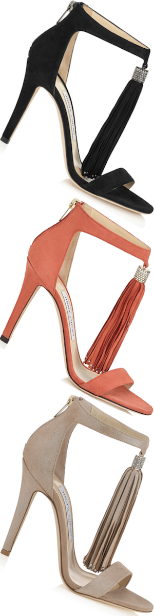 Jimmy Choo Viola 110 Nude Shimmer Suede Sandals with Tassel