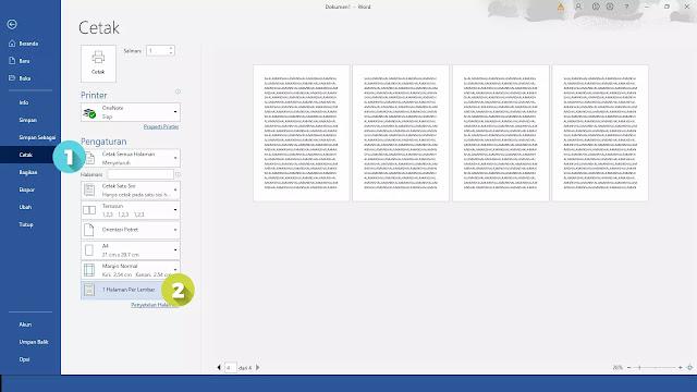 cara print 1 gambar menjadi 4 bagian di word