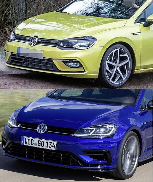 VW Golf MK8 (acima) x VW Golf MK7 (abaixo)
