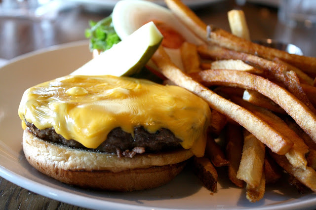 Cheeseburger and housecut French fries