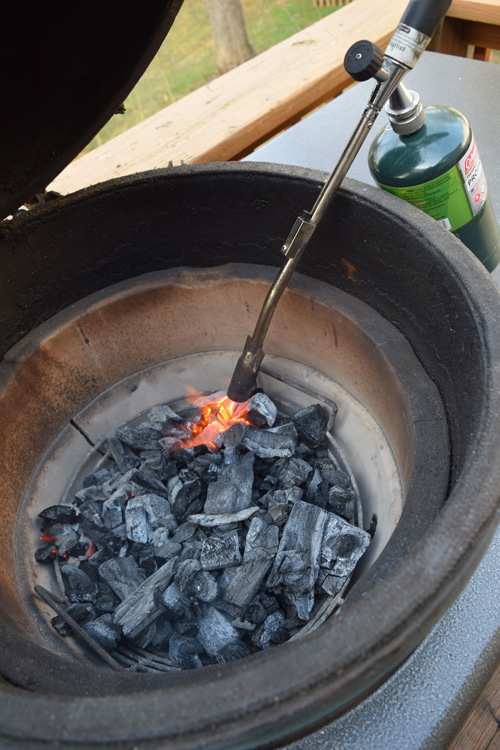 Using a JJ George grill torch to light a Big Green Egg