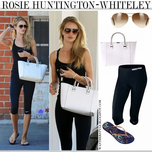 e9cde28b017 WHAT SHE WORE  Rosie Huntington-Whiteley in black top
