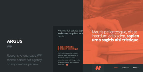 One Page Responsive WordPress Template