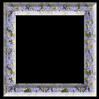 Moldura quadrada azul floral  - criação Blog PNG-Free