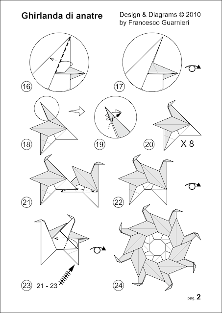 Modular origami, diagrams pag. 2, Ghirlanda di anatre - Garland of ducks © Francesco Guarnieri