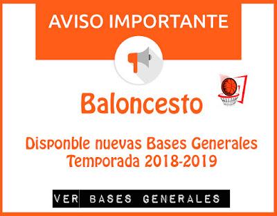 BALONCESTO: Disponibles Bases Generales Temporada 2018-2019