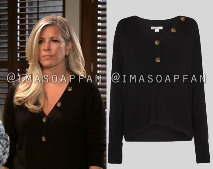 Carly Corinthos, Laura Wright, Black V-neck Sweater with Asymmetric Buttons, General Hospital, GH