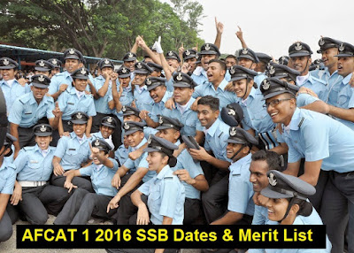 AFCAT 1 2016 SSB Dates and Merit List