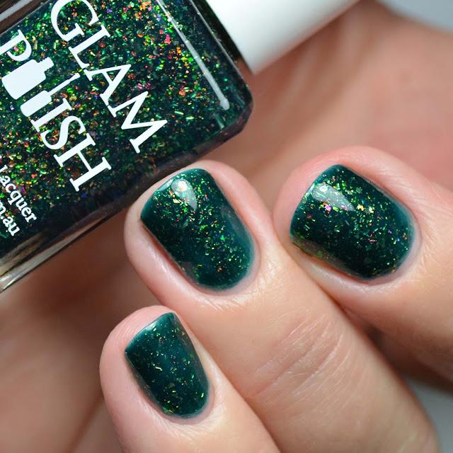 green flakie nail polish swatch