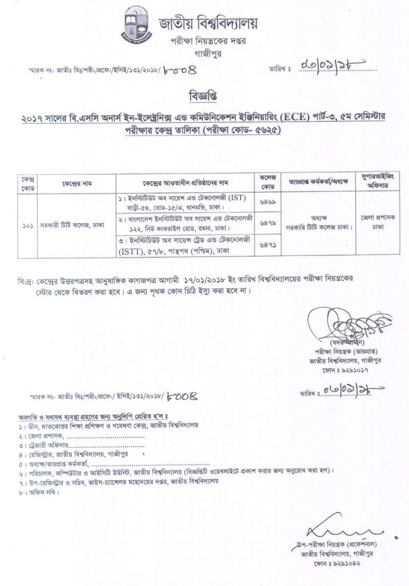 Center list of BSc in Electronic and Communication part 3 5th semester under national University Bangladesh. nu edu bd ২০১৭ সালের বি.এসসি অনার্স ইন-ইলেকট্রোনিক্স এন্ড কমিউনিকেশন ইঞ্জিনিয়ারিং(ইসিই)পার্ট-৩,  ৫ম সেমিস্টার পরীক্ষার কেন্দ্র তালিকা সংক্রান্ত বিজ্ঞপ্তি।