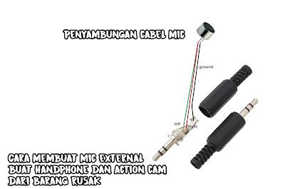 Cara membuat mic external buat handphone dan action cam dari barang rusak