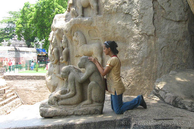 Monkey sculpture Mahabalipuram