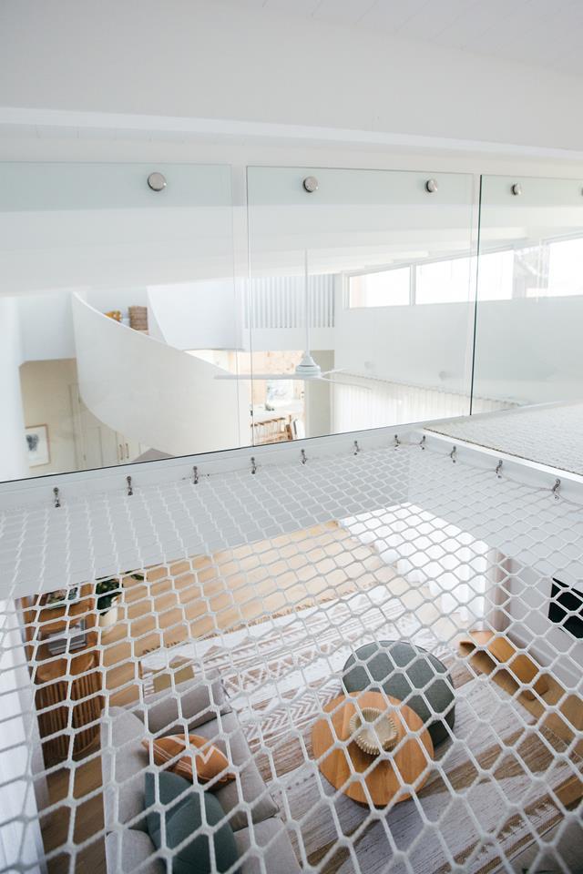 Children's play net in the loft