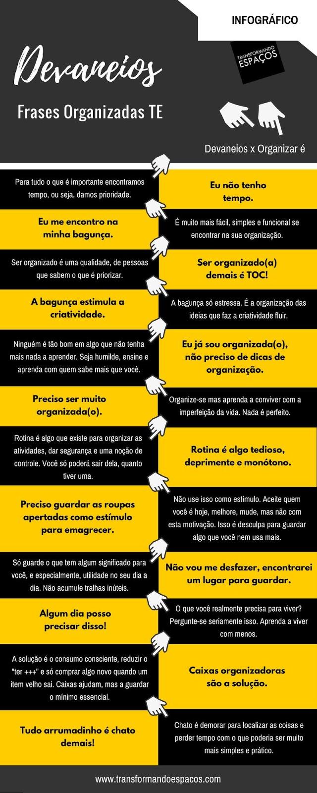 Infográfico: Frases Organizadas TE #Devaneios