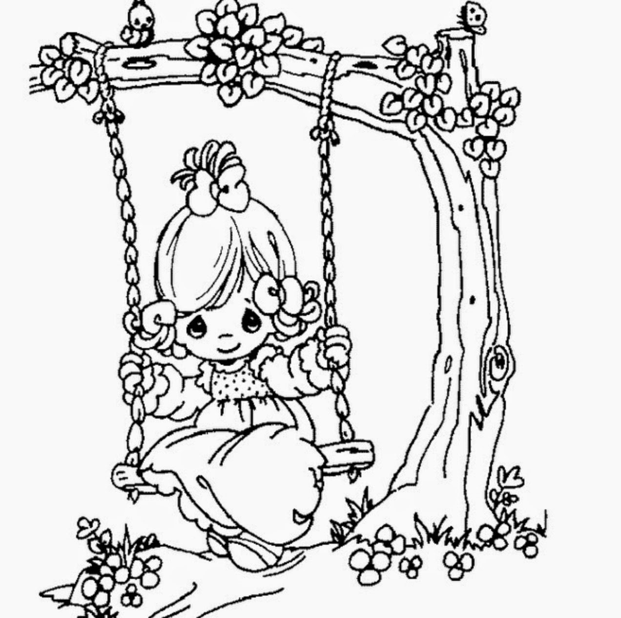 Beautiful Precious Moments Girl Coloring Page For Kids Of A Cute Cartoon Colour Drawing Hd Wallpaper Colours Drawing Wallpaper