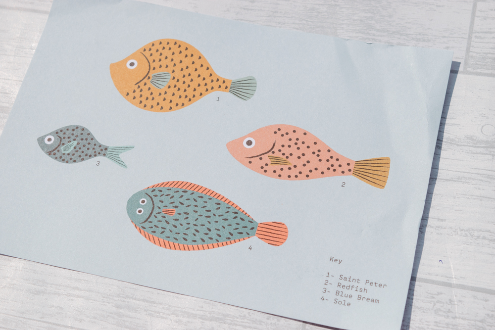 An art print with four fish