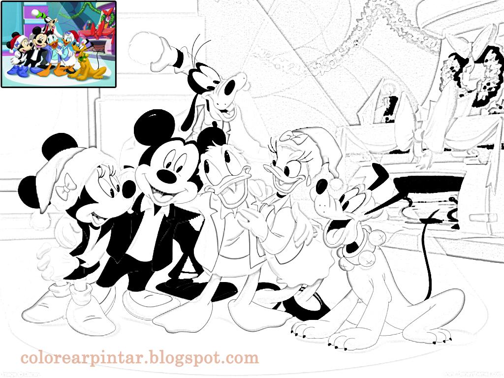 Dibujos De Navidad De Disney Para Colorear: Imagenes: Disney Festeja