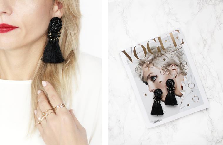 Nowości w mojej garderobie i nie tylko Czarne kolczyki z frędzlami + zestaw złotych pierścionków z perłami H&M