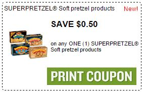 Print $0.50/1 SUPERPRETZEL Soft Pretzel Coupon.