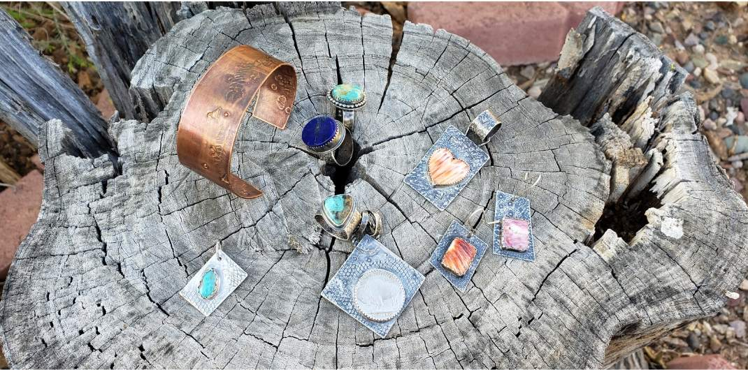 Copper Cuff, Turquoise Rings and Pendants