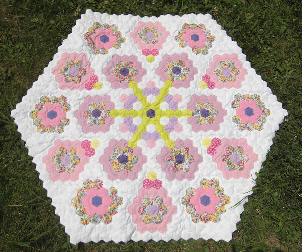 Hexagon alley hexagon quilt for Hexagon quilt template plastic